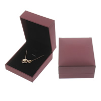 Leather Necklace Box, Cardboard, with PU & Velveteen, Rectangle, red coffee color, 67x78x35mm, Sold By PC