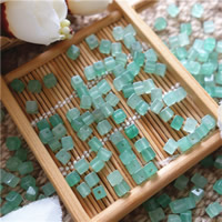 Green Aventurine Bead, Cube, natural, 4mm, Hole:Approx 1mm, 50PCs/Bag, Sold By Bag