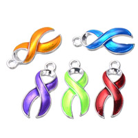 Awareness Ribbon Pendant, Zinc Alloy, silver color plated, enamel, more colors for choice, 10x24mm, Hole:Approx 1.5mm, Sold By PC