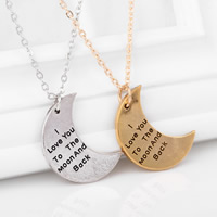 Zinc Alloy Iron Chain Necklace, with iron chain, Moon, word I love you to the moon and back, plated, oval chain & blacken, more colors for choice, nickel, lead & cadmium free, 23x31mm, Length:Approx 15.5 Inch, Sold By Strand