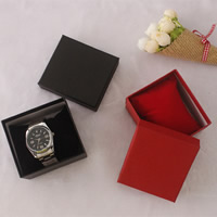 Cardboard Watch Box, with Sponge, Rectangle, more colors for choice, 87x80x53mm, Sold By PC