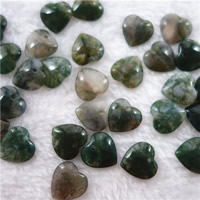 Moss Agate Pendants, Heart, natural, 18mm, Hole:Approx 2mm, Sold By PC