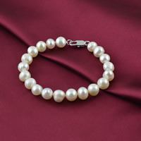 Cultured Freshwater Pearl Bracelets, brass lobster clasp, Potato, natural, white, 9-10mm, Length:Approx 7 Inch, Sold By Strand