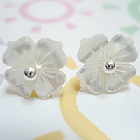 White Shell Earrings, sterling silver post pin, Flower, natural, 10mm, Sold By Pair