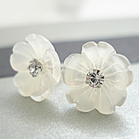 White Shell Earrings, sterling silver post pin, Flower, natural, with rhinestone, 10mm, Sold By Pair