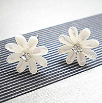 White Shell Earrings, sterling silver post pin, Flower, with rhinestone, 12mm, Sold By Pair
