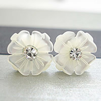 White Shell Earrings, sterling silver post pin, Flower, with rhinestone, 10mm, Sold By Pair