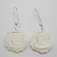 White Shell Earrings, sterling silver earring hook, Flower, natural, 20mm, Sold By Pair