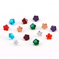 Cubic Zirconia Stones, Flower, rivoli back & faceted, more colors for choice, 5x4mm, Sold By PC