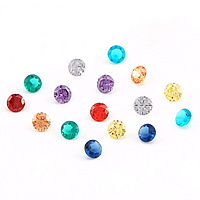 Cubic Zirconia Stones, Flat Round, rivoli back & faceted, more colors for choice, 2x2mm, Sold By PC