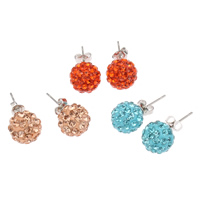 Rhinestone Stud Earring, Rhinestone Clay Pave, stainless steel post pin, Round, with 54 pcs rhinestone, mixed colors, lead & cadmium free, 10mm, Sold By PC