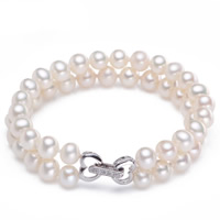Cultured Freshwater Pearl Bracelets, brass foldover clasp, Potato, natural, natural & micro pave cubic zirconia & 2-strand, white, 6-7mm, Length:Approx 7 Inch, Sold By Strand