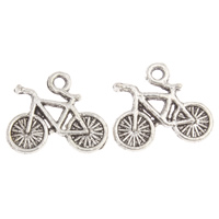 Vehicle Shaped Zinc Alloy Pendants, Bike, antique silver color plated, lead & cadmium free, 16x14x2mm, Hole:Approx 1mm, Approx 140PCs/Bag, Sold By Bag