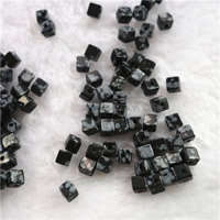 Snowflake Obsidian Bead, Cube, natural, 4mm, Hole:Approx 1mm, Sold By PC