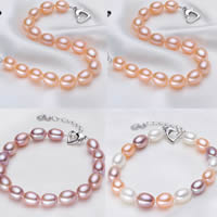 Cultured Freshwater Pearl Bracelets, brass lobster clasp, with 5cm extender chain, Rice, natural, more colors for choice, 8-9mm, Length:Approx 7 Inch, Sold By Strand