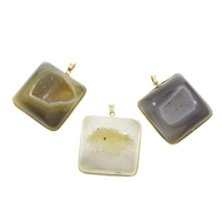 Natural Agate Druzy Pendant, Ice Quartz Agate, with Iron, Square, gold color plated, druzy style, mixed colors, 43x47x11mm-44x48x16mm, Hole:Approx 4x6mm, Sold By PC