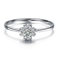 Cubic Zirconia Micro Pave Sterling Silver Finger Ring, 925 Sterling Silver, Flower, platinum plated, different size for choice & micro pave cubic zirconia & faceted, 5x5mm, Sold By PC
