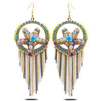 Fashion Fringe Earrings, Zinc Alloy, with Crystal, brass earring hook, plated, Bohemian style & faceted & with rhinestone, 34x92mm, Sold By Pair