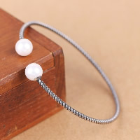 Thailand Sterling Silver Cuff Bangle, with Freshwater Pearl, natural, open, 8mm, Inner Diameter:Approx 61mm, Length:Approx 7 Inch, Sold By PC