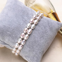 Cultured Freshwater Pearl Bracelets, brass box clasp, Rice, natural, 2-strand, white, 5-6mm, Length:Approx 7 Inch, Sold By Strand