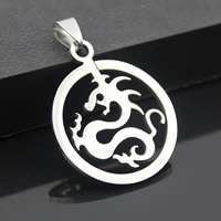 Stainless Steel Pendants, Flat Round, original color, 29mm, Hole:Approx 3-5mm, Sold By PC