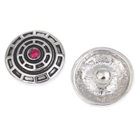 Jewelry Chunk Button, Zinc Alloy, Flat Round, platinum color plated, with rhinestone & blacken, lead & cadmium free, 20x8mm, 5PCs/Bag, Sold By Bag