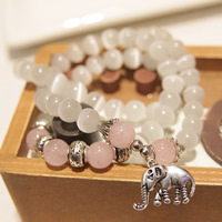 Cats Eye Bracelets, with Rose Quartz & Zinc Alloy, Elephant, antique silver color plated, natural & 3-strand, 530mm, Length:Approx 20.5 Inch, Sold By Strand
