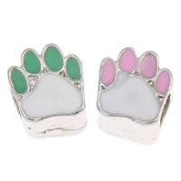 Acrylic European Beads, Bear Paw, platinum color plated, enamel, more colors for choice, 10.5x12x8mm, Hole:Approx 5mm, Sold By PC