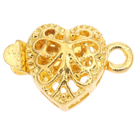 Zinc Alloy Box Clasp, Heart, gold color plated, single-strand, lead & cadmium free, 16x11x5mm, Hole:Approx 1mm, Sold By PC