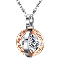 Titanium Steel Jewelry Necklace, plated, oval chain & with letter pattern & with cubic zirconia & two tone, 13x13mm, Length:Approx 17 Inch, Sold By Strand