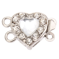 Zinc Alloy Box Clasp, with Acrylic, Heart, platinum color plated, faceted & with rhinestone & 2-strand, lead & cadmium free, 17x11x6mm, Hole:Approx 1mm, Sold By PC