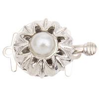 Zinc Alloy Box Clasp, with ABS Plastic Pearl, Flower, platinum color plated, single-strand, lead & cadmium free, 20x14x9mm, Hole:Approx 1mm, Sold By PC