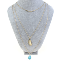 Fashion Multi Layer Necklace, Zinc Alloy, with iron chain & Synthetic Turquoise, Teardrop, gold color plated, oval chain & 3-strand, nickel, lead & cadmium free, 15x20x7mm, Length:Approx 18 Inch, Sold By Strand
