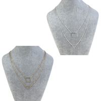 Fashion Multi Layer Necklace, Zinc Alloy, with iron chain, with 5cm extender chain, Triangle, plated, oval chain & 2-strand, more colors for choice, nickel, lead & cadmium free, 15x2mm, Length:Approx 16.5 Inch, Sold By Strand