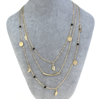 Fashion Multi Layer Necklace, Zinc Alloy, with iron chain & Synthetic Turquoise, with 5cm extender chain, Leaf, gold color plated, oval chain & 3-strand, nickel, lead & cadmium free, 7x15x1mm, Length:Approx 17 Inch, Sold By Strand