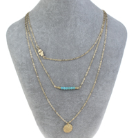 Fashion Multi Layer Necklace, Zinc Alloy, with iron chain & Synthetic Turquoise, with 5cm extender chain, Hamsa, gold color plated, Islamic jewelry & oval chain & 3-strand, nickel, lead & cadmium free, 15x1mm, Length:Approx 17 Inch, Sold By Strand