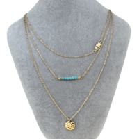 Fashion Multi Layer Necklace, Zinc Alloy, with iron chain & Synthetic Turquoise, with 5cm extender chain, Flat Round, gold color plated, oval chain & 3-strand, nickel, lead & cadmium free, 15x1mm, Length:Approx 17 Inch, Sold By Strand