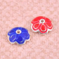 Sterling Silver Bead Caps, 925 Sterling Silver, Flower, epoxy sticker, mixed colors, 7x2.6mm, Hole:Approx 1mm, Sold By PC