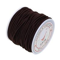 Elastic Thread, Nylon, with plastic spool, deep coffee color, 1.5mm, 25PCs/Bag, 13.5m/PC, Sold By Bag