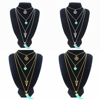 Fashion Multi Layer Necklace, Zinc Alloy, with iron chain & Synthetic Turquoise, with 5cm extender chain, plated, oval chain & 4-strand & enamel, more colors for choice, lead & cadmium free, 720mm, Length:Approx 28 Inch, Sold By Strand