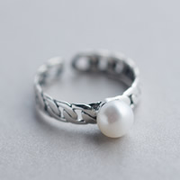Cultured Freshwater Pearl Finger Ring, Thailand Sterling Silver, with Freshwater Pearl, natural, open, 6mm, US Ring Size:8, Sold By PC
