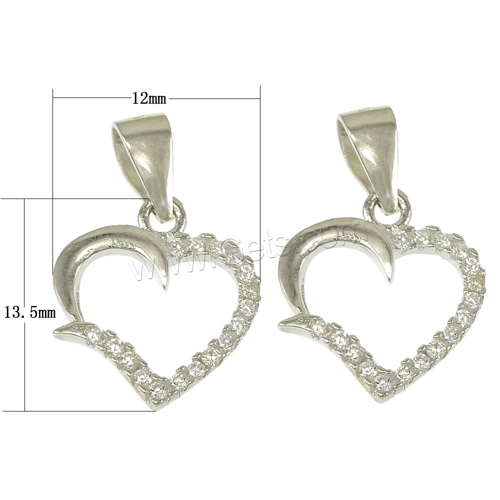 Cubic Zirconia Micro Pave Sterling Silver Pendant, 925 Sterling Silver, Heart, plated, micro pave cubic zirconia, more colors for choice, 12x13.5x1mm, Hole:Approx 2.5x5mm, Sold By PC