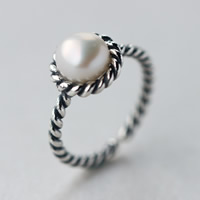 Cultured Freshwater Pearl Finger Ring, Thailand Sterling Silver, with Freshwater Pearl, natural, open, 8mm, US Ring Size:8, Sold By PC