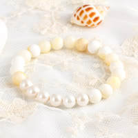 Fluted Giant Clam Bracelets, with South Sea Shell, Round, natural, 8mm, Length:Approx 7.5 Inch, Sold By Strand