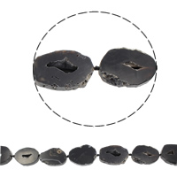 Druzy Beads, Ice Quartz Agate, natural, druzy style, black, 29x41mm-37x44mm, Hole:Approx 1.5-2mm, Length:Approx 15.5 Inch, 8PCs/Strand, Sold By Strand
