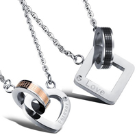 Couple Stainless Steel Necklace, word forever love, plated, oval chain & different styles for choice & with rhinestone, 18x18mm, 16x18mm, Length:21.65 Inch,  17.71 Inch, Sold By Strand