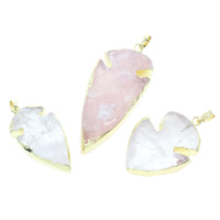 Ice Quartz Agate Pendants, with brass bail, gold color plated, natural & mixed, 21x41x8mm-36x48x8mm, Hole:Approx 5x7mm, Sold By PC