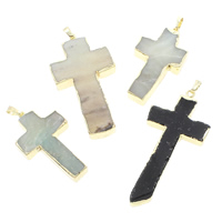 Ice Quartz Agate Pendants, with brass bail, gold color plated, natural & mixed, 30x40x5mm-37x61x5mm, Hole:Approx 5x7mm, Sold By PC