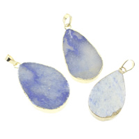Ice Quartz Agate Pendants, with brass bail, gold color plated, natural & mixed, 20x37x6mm, Hole:Approx 5x7mm, Sold By PC