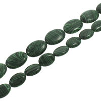 Synthetic Malachite Beads, Flat Oval, different size for choice, Hole:Approx 1mm, Length:Approx 15.5 Inch, Sold By Strand
